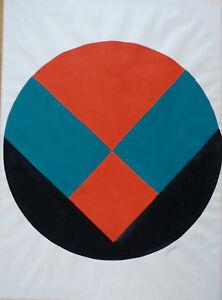 LUCIENNE-OLIVIERI-1910-2007-COMPOSITION-ABSTRAITE-GEOMETRIQUE-GOUACHE-PAPIER