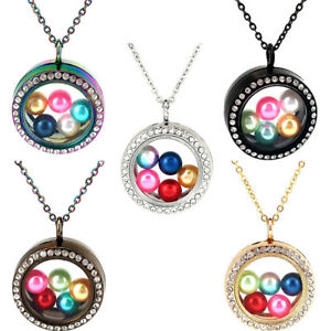 Silver-Round-Floating-Locket-fit-8mm-10mm-Glass-Beads-Cage-Necklace-20-034