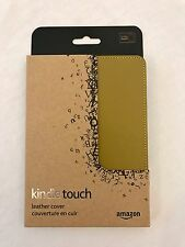 NEW Amazon Kindle Touch Olive Green Leather Book Cover Screen Scratch Protector