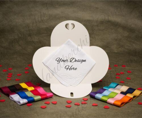 3 x Personalised Monogram Letter Initials Scroll Wedding Handkerchief Gift