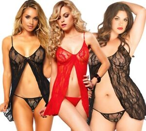 Romantic Lace Babydoll and Matching G-string Black 8782 Leg Avenue Women/'s 2 PC