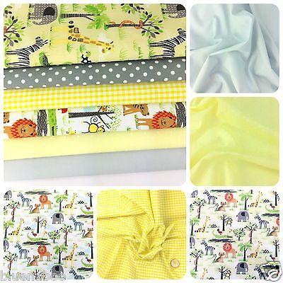 Lemon & Grey 'Day In the Jungle' Polycotton Bundle & Fabrics Per 1/2, Metre