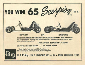 Vintage 1965 Bug Scorpion Sprint Or Enduro Go Kart Ad Ebay