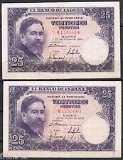 PAREJA DE BILLETES 25 PESETAS 1954 ALBÉNIZ Serie M  P.147  MBC+  VF+