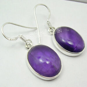 925-Sterling-Silver-CABOCHON-Purple-AMETHYST-BIG-PRETTY-Dangle-Earrings-1-3-Inch