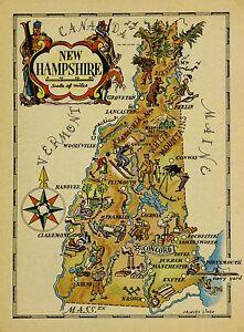 New Hampshire Antique Vintage Pictorial Map