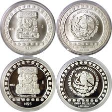1993 Mexico 5 Nuevo Pesos Silver 2 Coin Lot Azteca Series Huehueteotl Prf & Unc