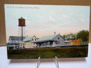 1910-Postcard-Canadian-Pacific-Railroad-Station-Lake-View-Maine