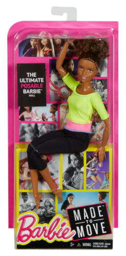Barbie Made to Move African American AA Doll Yellow Top~Articulated Posable Yoga