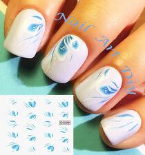Nail Art Water Transfer Stickers-Decals-Adesivi per Unghie Fiori Azzurri !!!