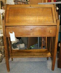Arts-and-Crafts-Mission-Style-Tiger-Oak-Drop-Front-Desk-Secretary-c-1900-1920