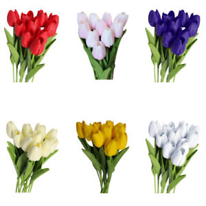 Am-ITS-10Pcs-Tulip-Artificial-Flower-Latex-Real-Touch-Bridal-Wedding-Bouquet-H