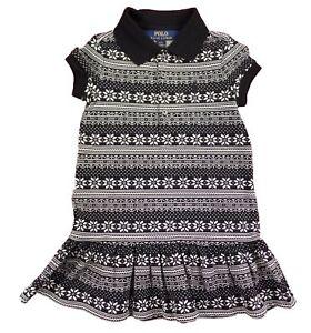 bbe1eea43 Ralph Lauren Girls Polo Shirt Dress Pony Logo Black Cream Snowflake ...
