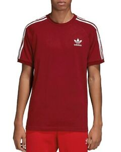 NEW-ADIDAS-ORIGINALS-BURGUNDY-RED-3-SHOULDER-STRIPES-CALIFORNIA-T-SHIRT-SZ-S