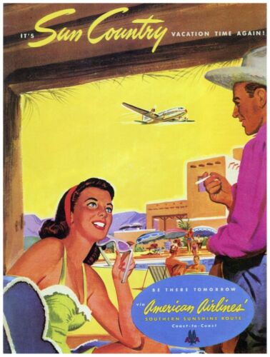 9661.Sun country.amerian airlines.couple at airport.POSTER.decor Home Office art