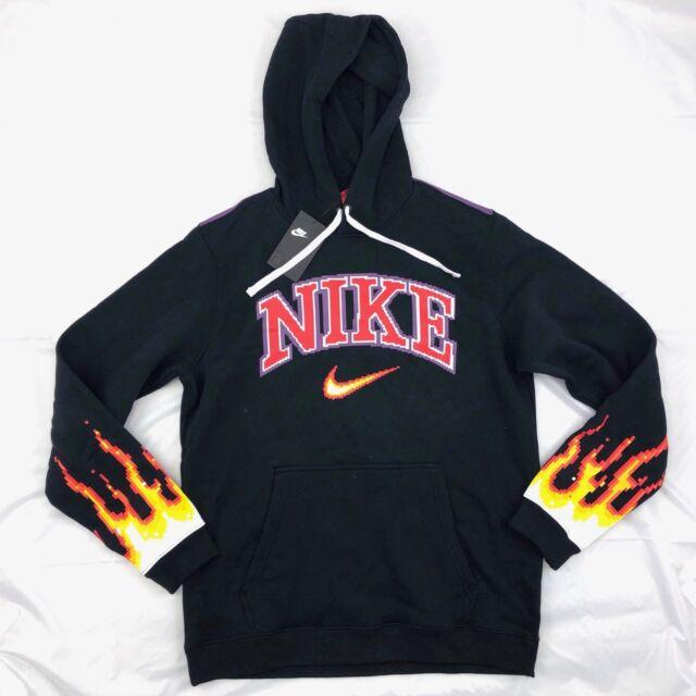 43daa0441ae1 Nike Chase Reed New York City Flame Hoodie Black Red White AO1000-010 Men s  M-L