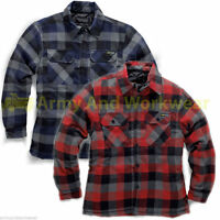 Check Flannel Padded Lumberjack Work Shirt Mens Thick Quilt Lining Working Warm