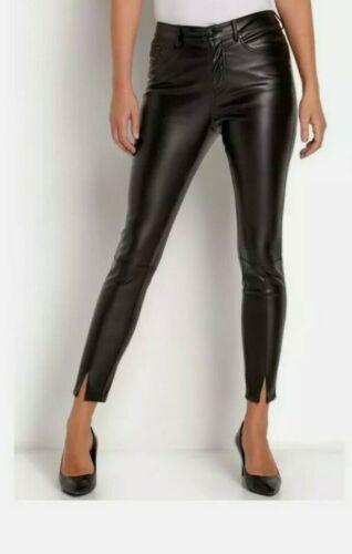 Boho Plus Taille Pantalon en cuir synthétique pour femme noir Jeans stretch taille haute UK 10