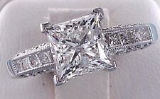 1/4 Ct Real Princess Diamond Solitaire Engagement Ring Solid 14k White Gold