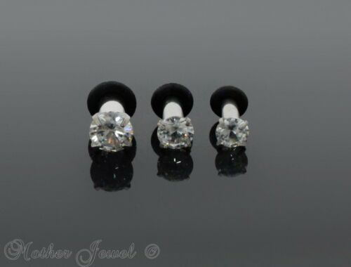 SIMULATED DIAMOND SILVER SURGICAL STEEL SCREW FLESH TUNNEL EAR PLUG SPACER