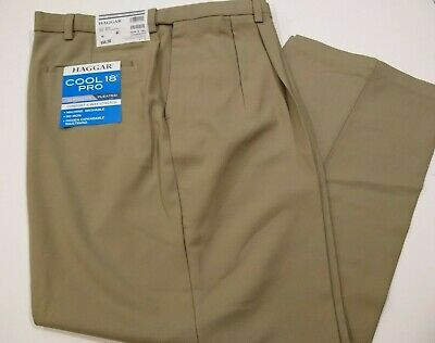 HAGGAR Cool 18 Pro Classic Fit Pleated Front Pant 44x29 Khaki #290