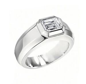 1 ct mens emerald cut diamond wedding ring gia g vvs2 ebay for Men s 1 carat diamond wedding bands