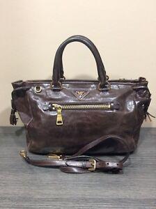 Auth PRADA Milano Brown Vintage Leather Tote Bag Shoulder Strap ... 89c2aacb7a8ca