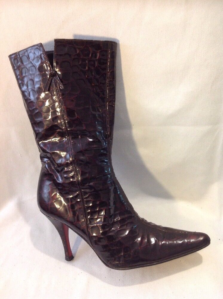 X LUXAX Brown Mid Calf Leather Boots Size 38