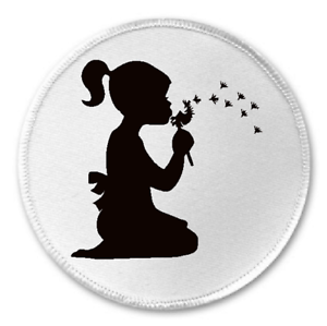 """Dandelion Wishes Silhouette 3/"""" Sew//Iron On Patch Flower Retro Girl Wish Gift"""