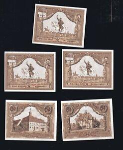 5x-Notgeld-Jessnitz-i-Anhalt-1921-3x-25-Pf-2x-50-Pf-Serie-numeriert-top