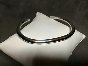 VTG-Marked-Mexico-925-Sterling-Silver-4mm-Round-Solid-Cuff-Bracelet-6-5-21-6g