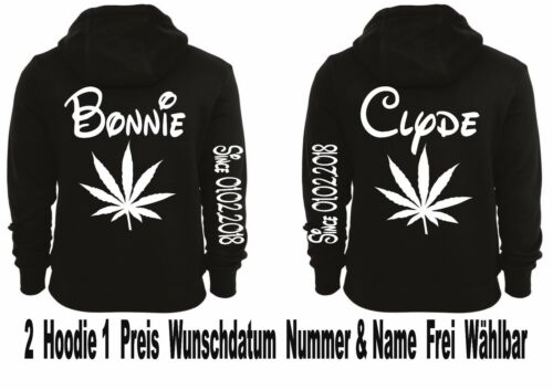 Hoodie Bonnie Clyde Motiv Pullover Partner Look Top Smile XS 5XL 2Stk One Love