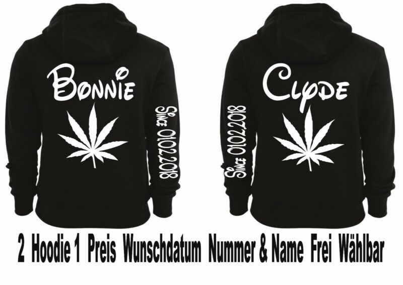 Intellektuell Hoodie Bonnie Clyde Motiv Pullover Partner Look Top Smile Xs - 5xl 2stk One Love
