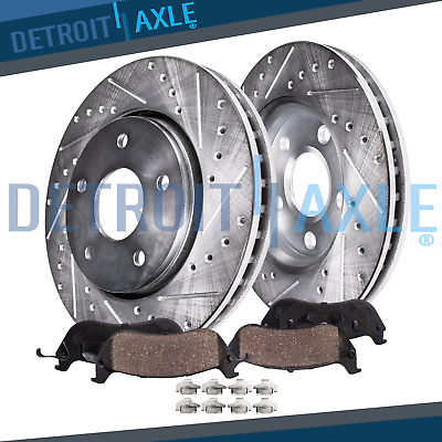 Fits:- Ford Mazda 4 Ceramic Pads High-End 5lug 2 Cross-Drilled Disc Brake Rotors Front Kit