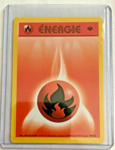 FIRE ÉNERGIE 1st Edition 98//102 Vintage ©1999 FRENCH Base N//MINT Pokemon Card