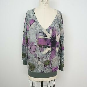Details about Raw 7 Womens 100% Cashmere Sweater Sz M Skull Floral Embroidery Design V Neck