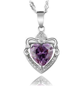 Sterling-Silver-Swarovski-Element-Heart-Love-Amethyst-Pendant-Necklace-18-034-Chain
