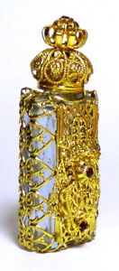 Luxury-Vintage-Czech-Handmade-Rhinestones-Glass-Perfume-bottle-Filigree