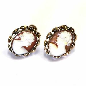 Image Is Loading 10k Yellow Gold Vintage Cameo Non Pierced Earrings