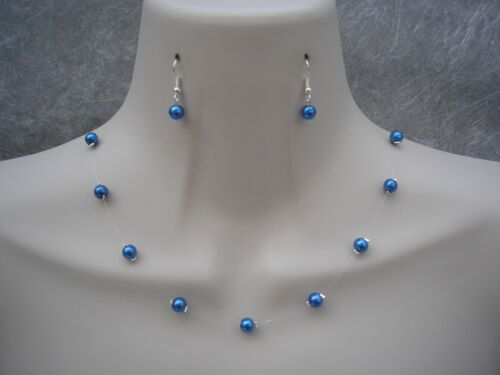 Handmade Pearl Floating Invisible Illusion Necklace 925 Silver Earrings Set 17C