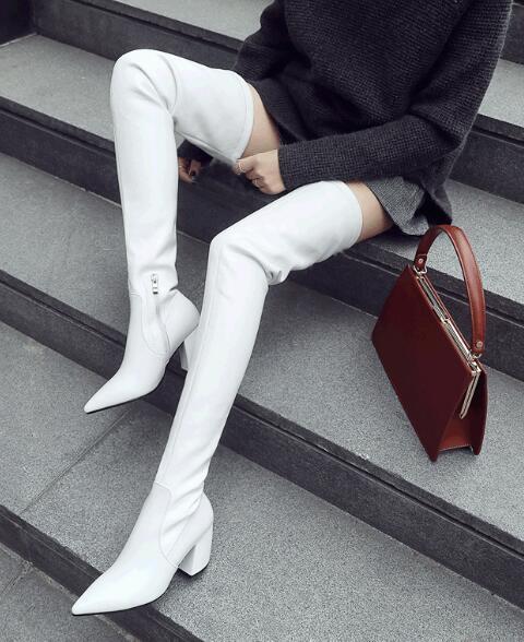 grande vendita donna Block Block Block Heels Thigh High Over The Knee Stretch Riding stivali Pointed Toe F76  preferenziale