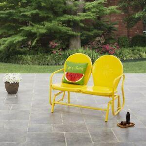 Outdoor Retro Glider Chairs Yellow Patio Metal 2 Seats Garden Benches Recliner Ebay