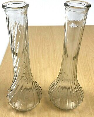 10 tall #4091 3; 7 14 tall #4083  16; 6 Tall #4064  16 THREE Hoosier glass vases ribbed swirl design; clear crystal glass Selection