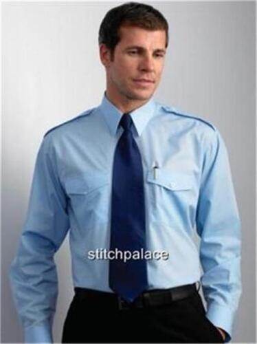 "Pilot Shirt Easy Care Security White Blue 14.5/"" to 22/"""