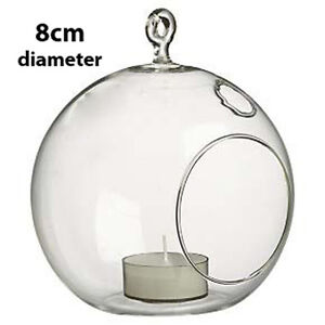 Image Is Loading Glass Round Sphere Ball Orb Hanging Tealight Candle