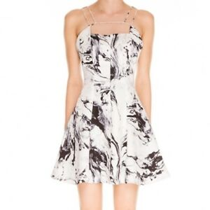 Keepsake Mirror Image Black White Marble Fit   Flare Mini Dress M 10 ... 5b0887af368