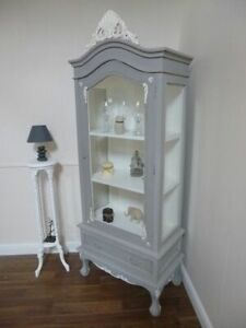 French Style Display Cabinet Shabby Chic Style In Grey White