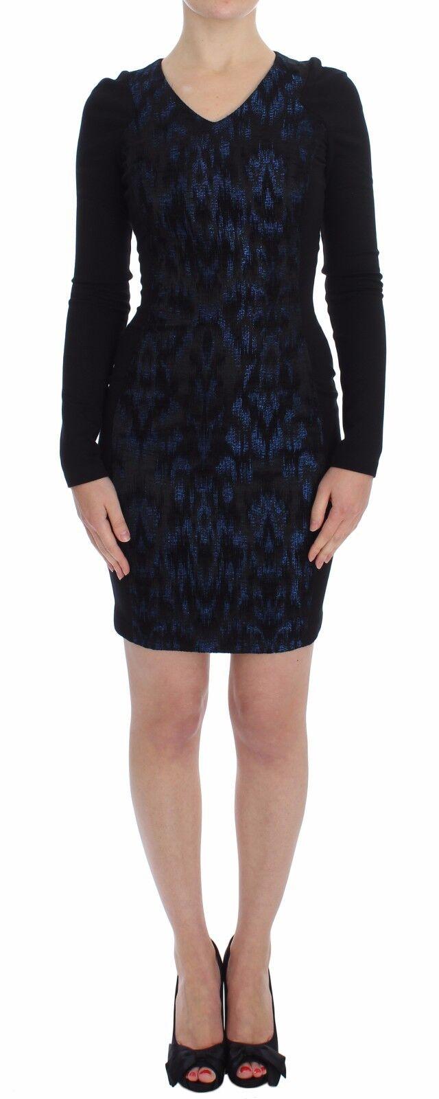 NWT VERSACE JEANS COUTURE VJC Blau schwarz Sleeve Mini Sheath Dress IT36   XS
