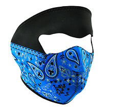Blue Paisley Neoprene Ski Face Mask Snowboard Motorcycle Biker Warm Black