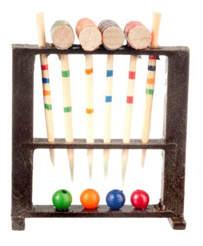Wood Croquet Game Set 1//12 scale Dollhouse Miniature